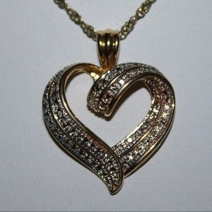 """Jewelry - .925 GOLD Large heart necklace 24"""" chain"""